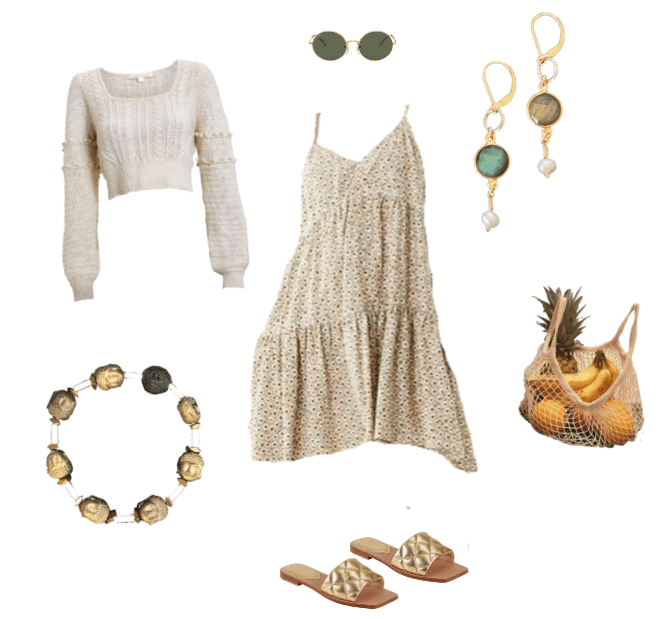 Everyday casual sundress outfit to wear to the grocery store. Collage with white background and labradorite and gold earrings and gold aromatherapy buddha bracelet