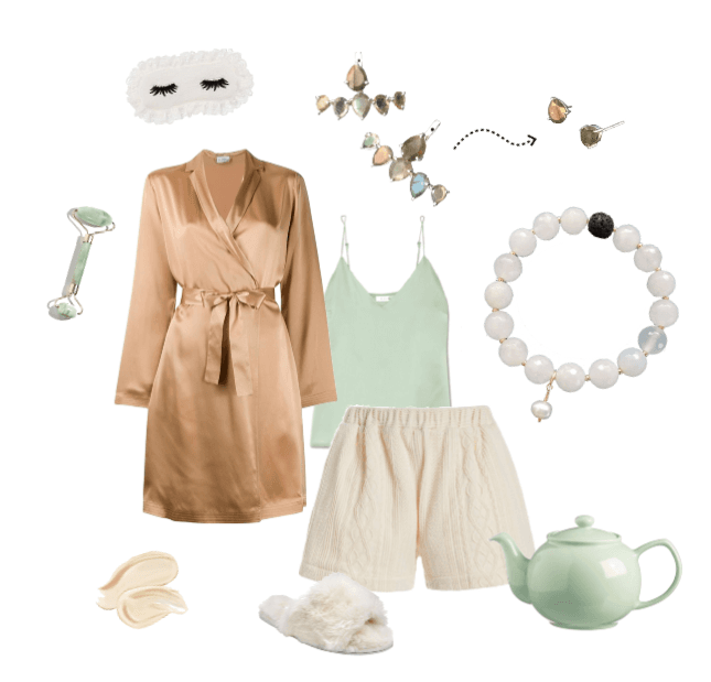 Self care Sunday collage of clothes and accessories. White background with an aromatherapy lava bead bracelet and gemstone ear jackets
