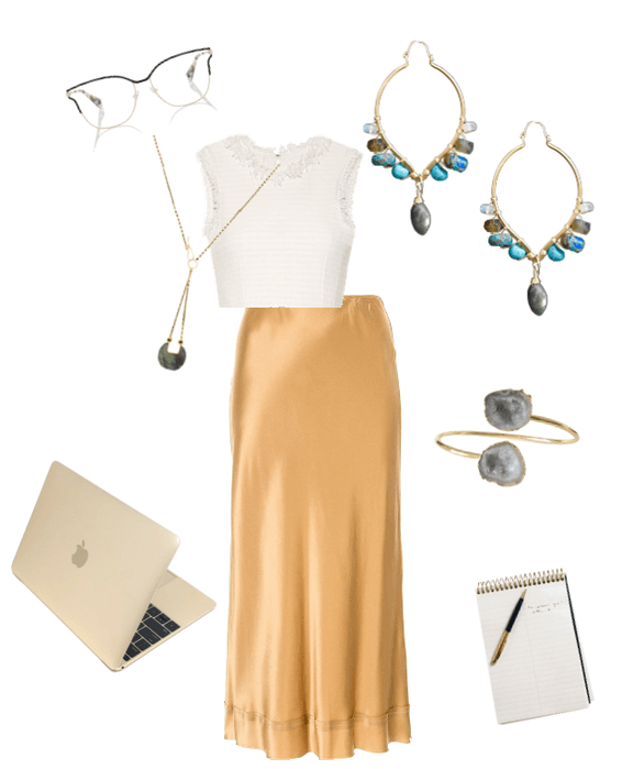 Conference call outfit collage of clothes and accessories. White background with yellow skirt, white blouse, agate bangle bracelet, gemstone statement earrings, and front-closure gold and labradorite necklace