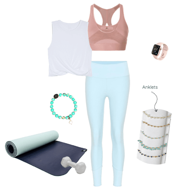 Workout outfit collage with pastel blue workout leggings and pastel pink sports bra. White background with yoga mat, aromatherapy lava bead bracelet, and gemstone anklets