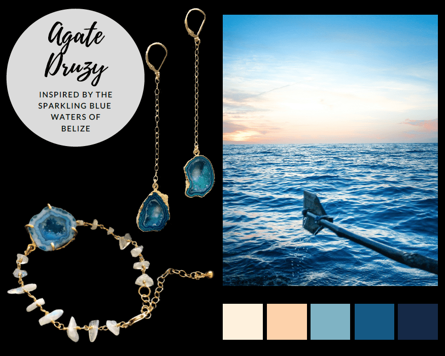 Agate druzy jewelry for the travel-loving mom. Agate druzy earrings and agate druzy bracelet inspired by the sparkling, blue waters of Belize.