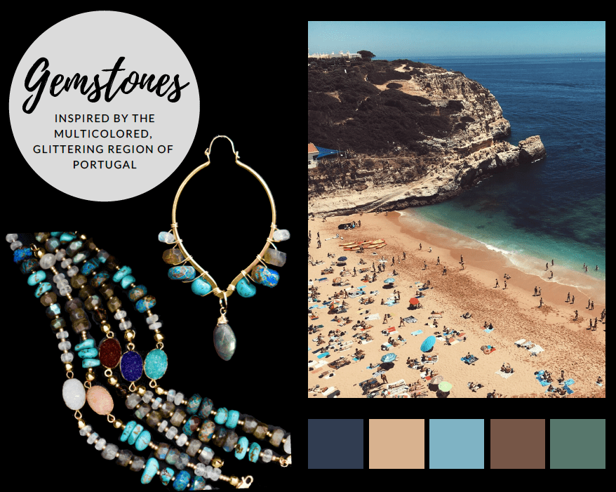Gemstone statement earrings and gemstone druzy bracelet inspired by Portugal.