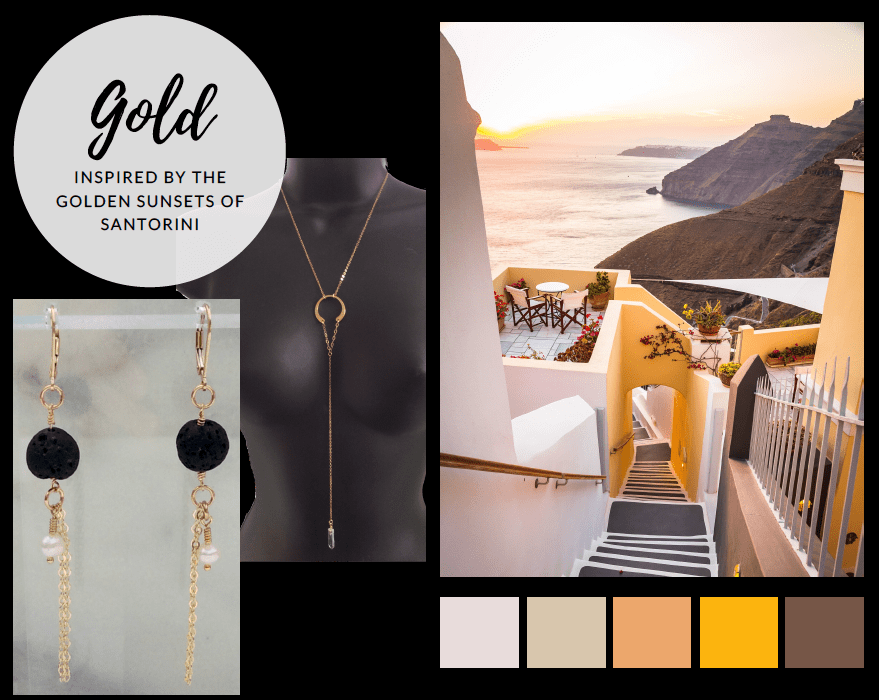 Gold jewelry for the wanderlust mom. Gold jewelry inspired by the golden sunsets of Santorini.