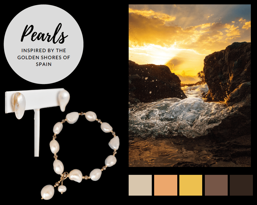 Pearl jewelry for the travel-loving mom. Pearl earrings and pearl bracelet inspired by the golden shores of Andalucia, Spain and Marbella, Spain.