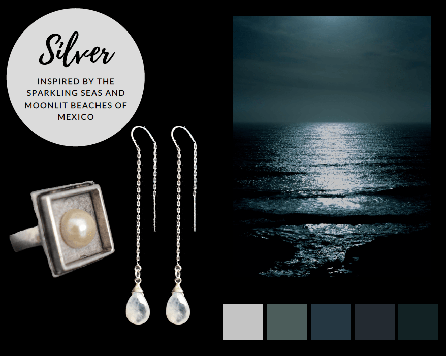 Travel-inspired silver jewelry for the globetrotting mom. Jewelry inspired by the beaches of Mexico.