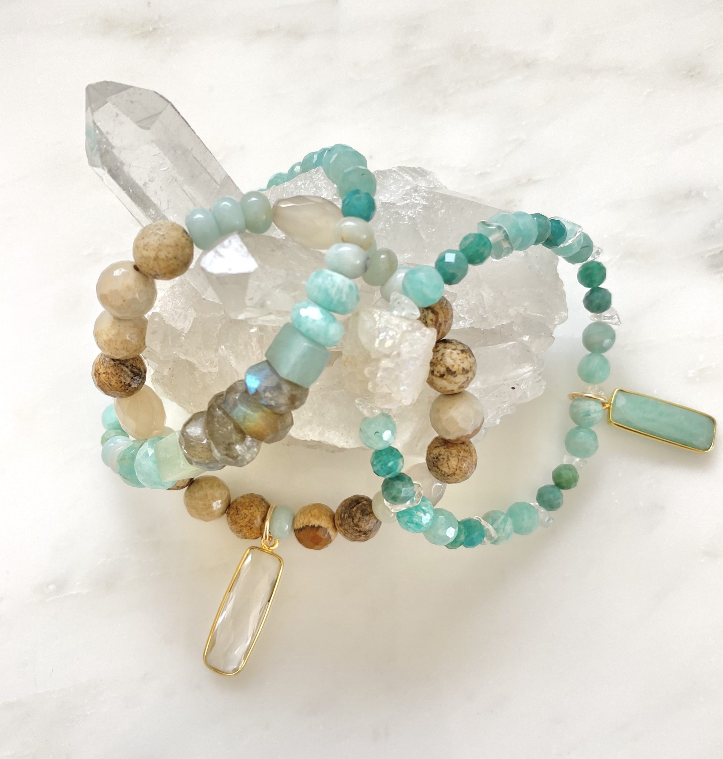 blue and tan gemstone bracelets
