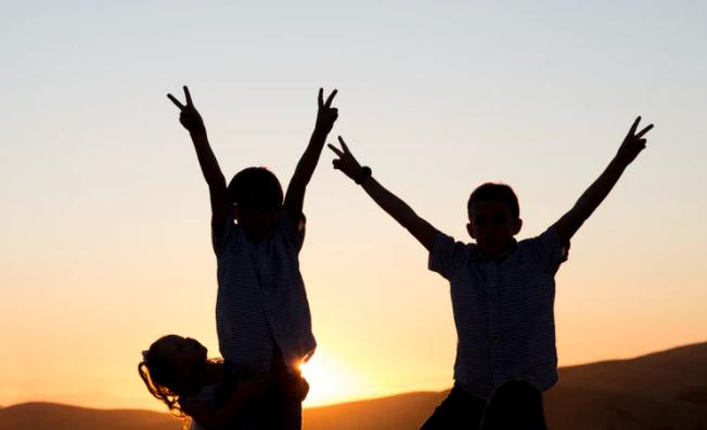 kids during sunset