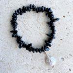 black tourmaline bracelet with pearl