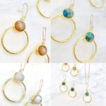 gold hoop earrings with colored gemstones