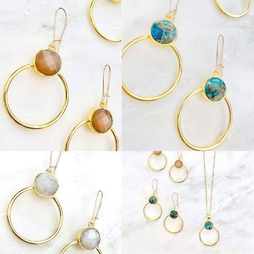 gold hoop earrings with colored gemstones