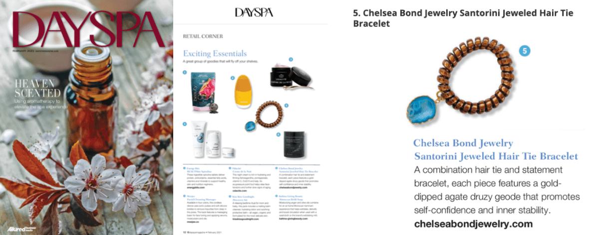 dayspa magzine featuring chelsea bond jewelry