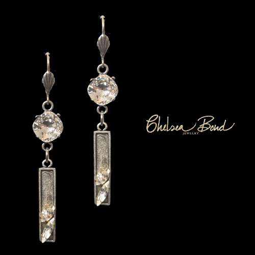 long silver earrings with swarovski crystals